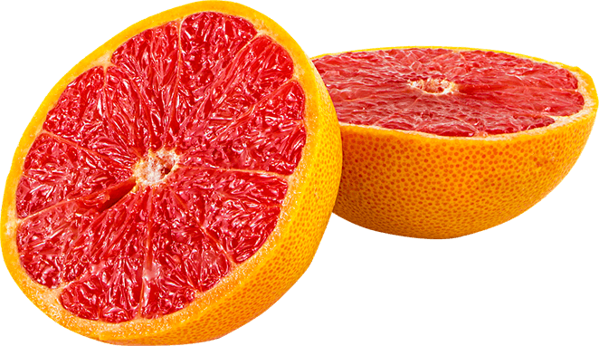 Sliced grapefruit.
