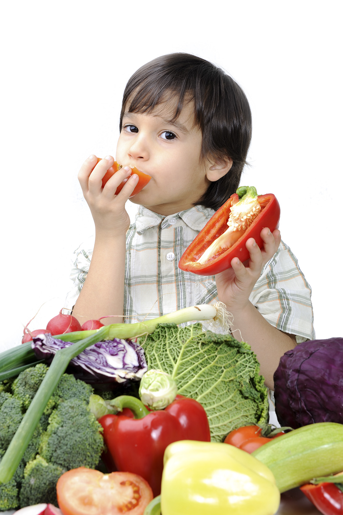 Cute kid with healthy food.