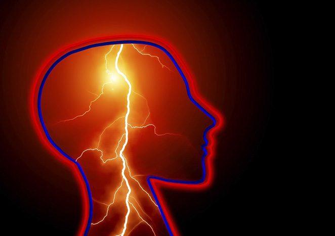 Lightning inside a skull.
