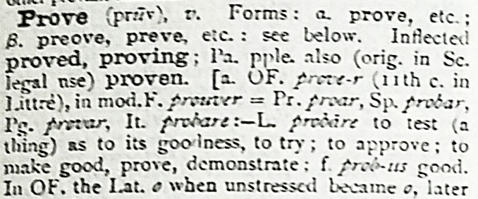 Dictionary entry for prove.