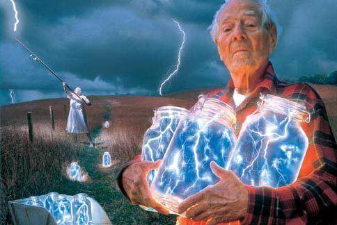 Man holding lightning